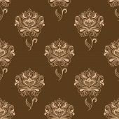 image of dainty  - Oriental traditional paisley floral seamless pattern with dainty beige flowers ornate decorated pointed leaves and swirls on brown background for wallpaper or textile design - JPG
