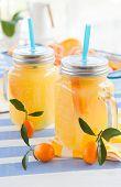image of kumquat  - Orange juice in vintage jars with fresh kumquats  - JPG