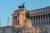 image of emanuele  - Monuments and Statues at the Vittoriano Emanuele Monument in central Rome at sunset - JPG