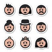 picture of deprivation  - Vector icons set of people looking sleepy or stressed isolated on white - JPG