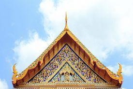 stock photo of apex  - gable apex of the church in bangkok thailand - JPG