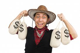 foto of wrangler  - Young cowboy with money bags isolated on white - JPG