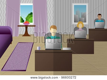 freelancer who works at home as in the office