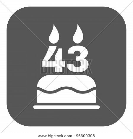 The birthday cake with candles in the form of number 43 icon. Birthday symbol. Flat
