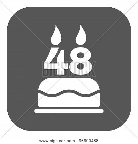 The birthday cake with candles in the form of number 48 icon. Birthday symbol. Flat