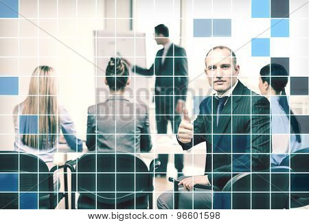 business, people and gesture concept - confident businessman with team in office showing thumbs up over blue squared grid background
