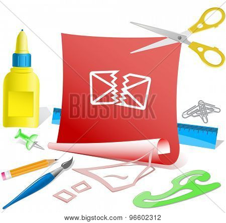 defective mail. Paper template. Vector illustration.