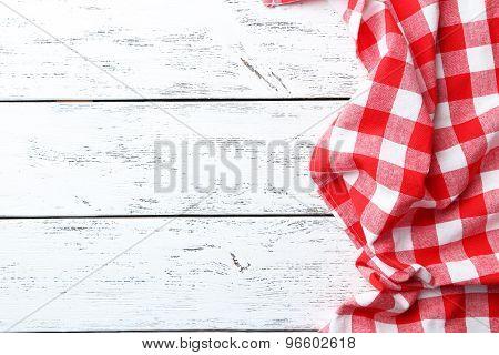 Napkin On White Wooden Background