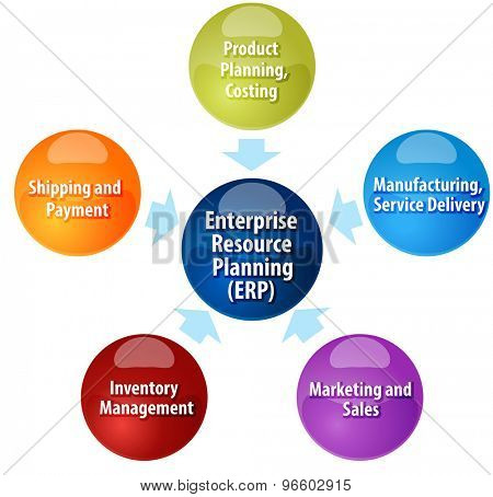 business strategy concept infographic diagram illustration of enterprise resource planning contributors