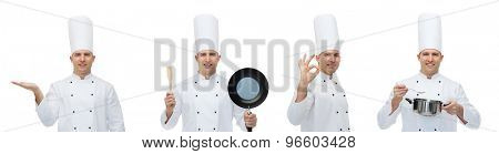 cooking, profession, advertisement and people concept - happy male chef cook in toque holding kitchen utensils and showing ok hand sign