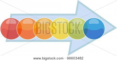 blank business strategy concept infographic process arrow diagram illustration six 6 steps