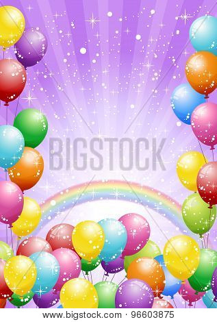 Festival Background With Balloons And Rainbow On Purple