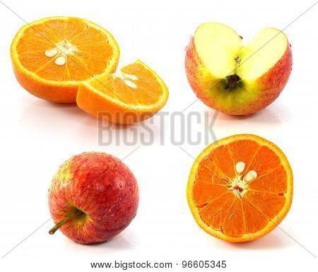 Red Apple And Orange Isolated On White Background