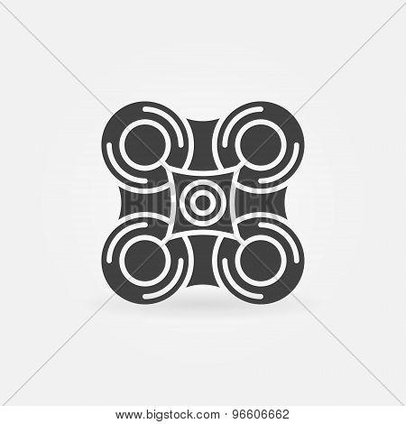 Drone black icon or logo