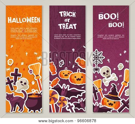 Vertical Banners Set with Halloween Symbols.