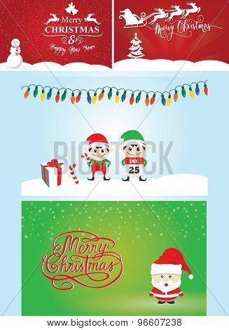 Vector Pack Illustration Of Christmas Cards