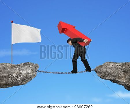 Businessman Carrying Red Arrow Sign Balancing Chain To White Flag