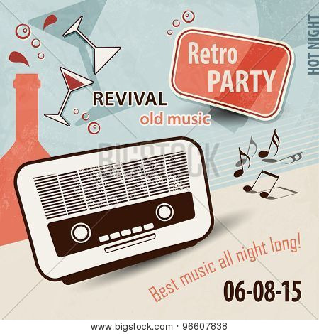 Retro music background - party flyer with old radio, bottles, glasses and music notes