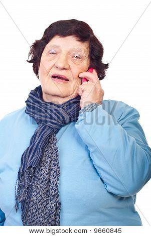 Elderly Having Conversation By Cellphone