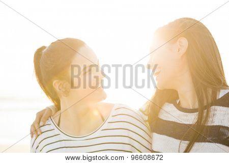 A portrait of best friends laughing