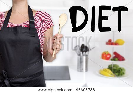 Diet Cook Holding Wooden Spoon Background