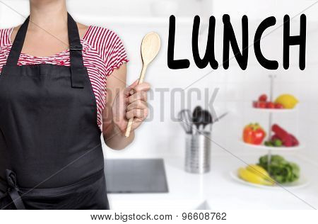 Lunch Cook Holding Wooden Spoon Background