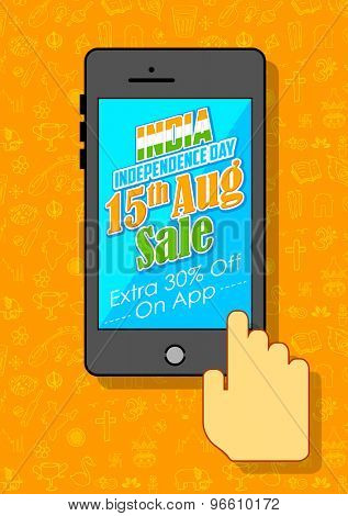illustration of India Independence sale on mobile application
