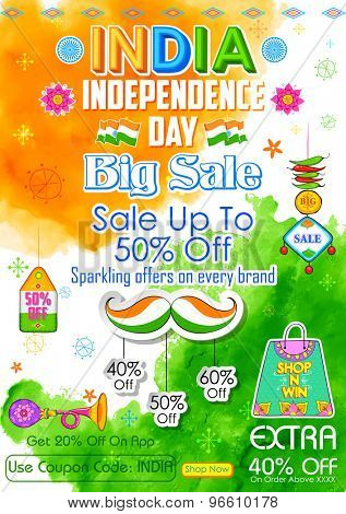 illustration of banner for big sale promotion for India Independence Day