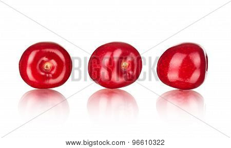 Collection Of Cherries With Reflection Isolated On White Background