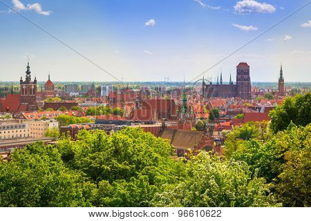 GDANSK, POLAND - MAY 11, 2015: Panorama of the city centre in Gdansk, Poland. Gdansk is a Polish city on the Baltic coast, one of the main seaport and center of Tri City metropolitan area.