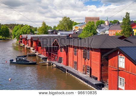Old Red Wooden Houses On The Coast, Porvoo