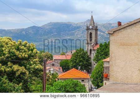 Corsican Landscape, Old Houses And Bell Tower