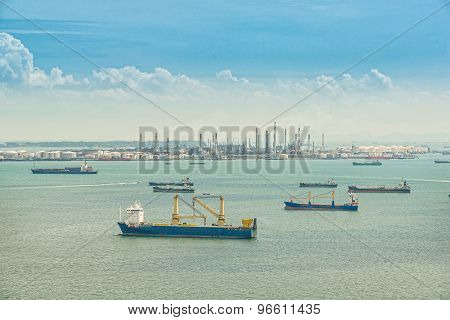 Oil Refinery And Oil Tanker Ship In Sea, Singapore