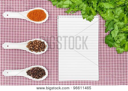 Menu Background. Cook Book Toned Image. Vintage Image Of Recipe Background. Recipe Notepad With Dive