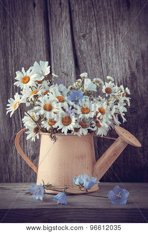 Watering Can With Summer Bouquet Of Daisies Flowers On Wooden Background.