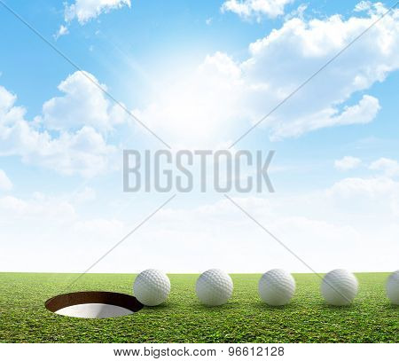 Golf Hole And Ball Putt Path
