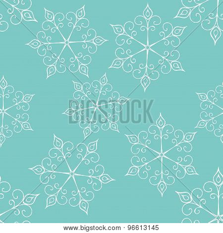 Seamless Vector Snowflake Pattern With Decorative Snowflakes