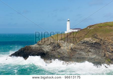 UK Lighthouse North Cornwall coast between Newquay and Padstow English maritime building