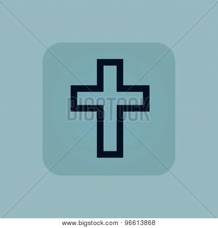 Pale blue christian cross icon