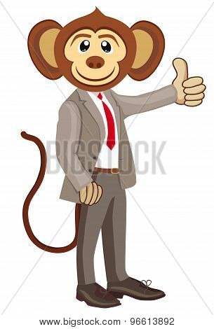 Business monkey in a gray suit.Thumbs up