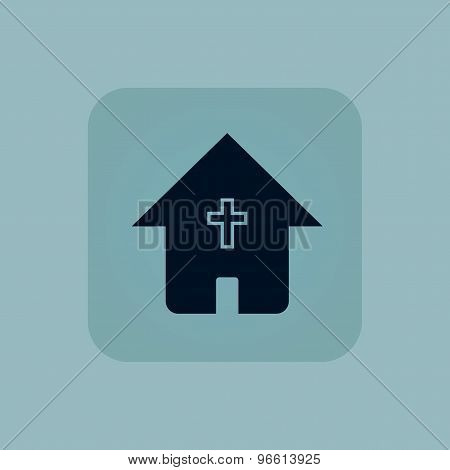 Pale blue christian house icon