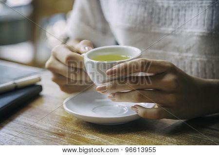 woman drinking tea