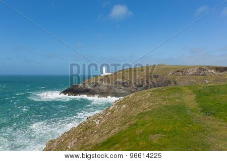 Trevose Head Lighthouse North Cornwall coast between Newquay and Padstow English maritime building