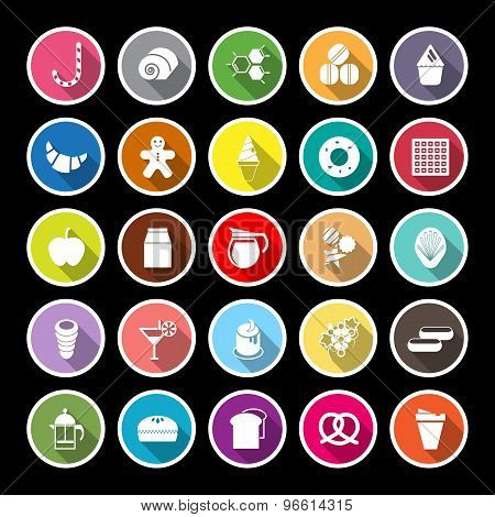 Sweet Food Flat Icons With Long Shadow