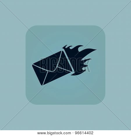 Pale blue burning letter icon