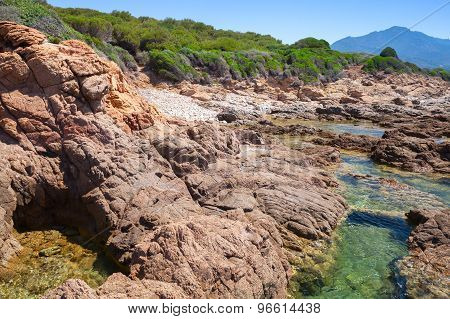 Coastal Landscape With Rocks And Lagoon, Corsica