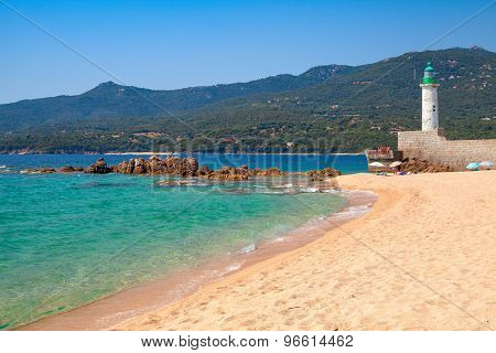 Sandy Beach And Lighthouse, Propriano, Corsica