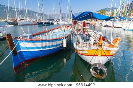 Colorful Wooden Fishing Boats, Corsica Island