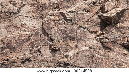 Rough Brown Rock Wall, Stone Texture