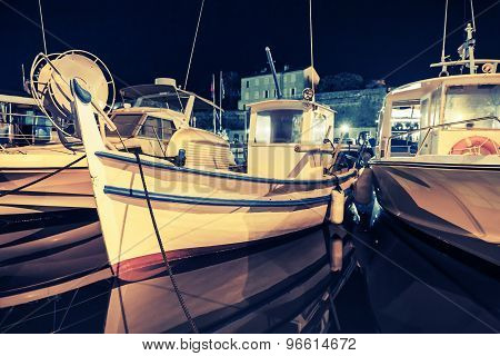 Small Wooden Fishing Boats, Ajaccio, Night